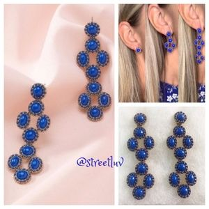 stella & dot ~ deep blue sardinia earrings 3 in 1